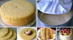 Высокий, нежный бисквит для торта - без духовки