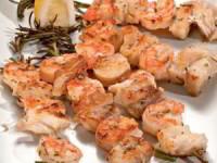 Шашлык из рыбы с креветками