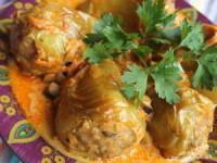 Запечённый перец, фаршированный курятиной и булгуром
