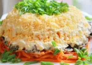 Очень вкусный салат с корейской морковкой