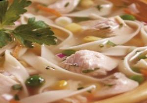 Вермишелевый суп с курицей и зеленым горошком