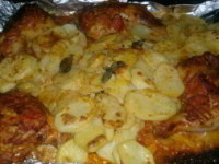 рецепт Картошка с окорочками в фольге