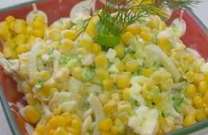 Салат из кальмара яйца и кукурузы