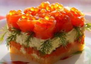 салат с семгой и красной икрой рецепт слоями