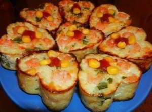 рецепт Рисовая запеканка с креветками и кукурузой