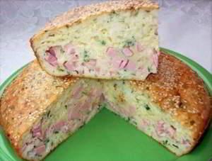 рецепт заливного пирога с колбасой и сыром фото
