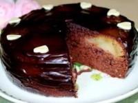 """Пирог """"Груши в шоколадном бисквите"""""""