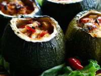 рецепт Фаршированные цукини с грибами