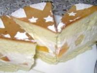 Бисквит с творожным кремом и консервированными фруктами