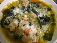 Итальянский свадебный суп с печёными фрикадельками из индейки