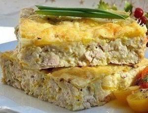 Легкий куриный пирог-запеканка