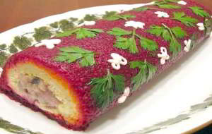 Новогодние рецепты салатов селедка под шубой рулетом рецепт