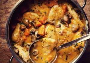 рецепт куриной грудки в сливочном соусе с грибами