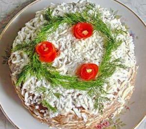 Закусочный тортик «Печёночный» - новогодние рецепты