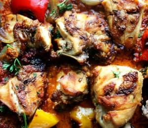Пири-пири цыпленок = Пири-Пири соус + Цыпленок + Запеченные перцы