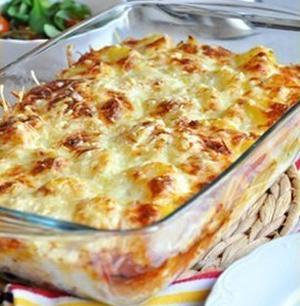 Сливочно - сырная запеканка с грибами и картофелем