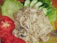 Спагетти с курочкой в сметанном соусе