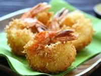 Креветки в темпуре из кокосовой стружки