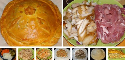 Пирог из дрожжевого теста со свининой и белыми грибами