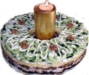 """Рождественский рецепт - салат """"Куриный веночек"""""""