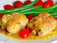 Голень цыплят с сыром и ананасом в ананасовом соусе