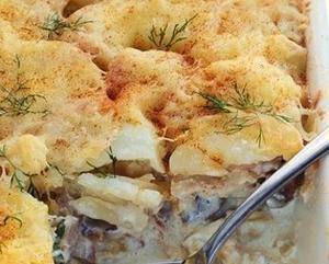 Рецепт Картофельной запеканки с курицей и грибами
