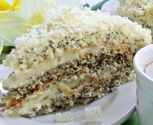 Торт «Царица Эстер» - воздушный маковый в белом шоколаде - легкий как перышко