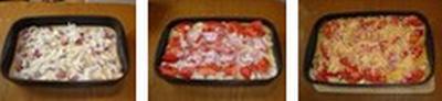 Свинина, запеченная с овощами под соусом бешамель