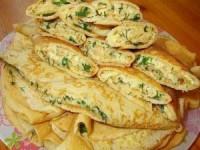 Блинные конверты с сыром и зеленью