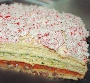 """Закусочный торт """"Рыбный"""""""