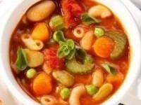 Суп минестроне с фруктами и томатным соком