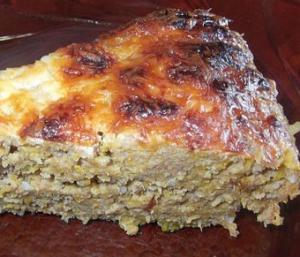 Мясная запеканка с гречкой и овощами