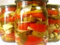 Огурцы и помидоры в желатине на зиму