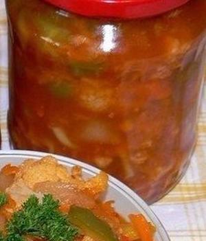 Острый салат из цветной капусты на зиму