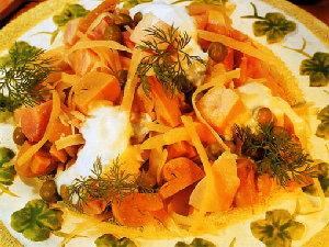 Салат из курицы с сыром и грибами