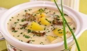 Сырный суп с белыми грибами