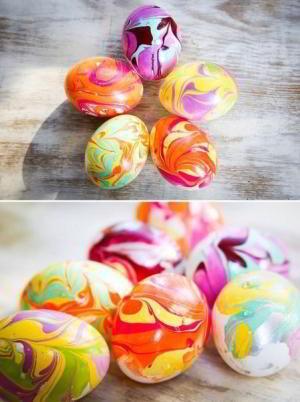 Как покрасить яйца на Пасху - мраморный дизайн