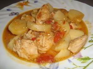 Курица с картофелем под белым вином