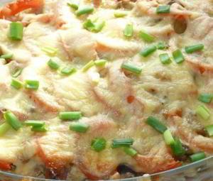 Запечёный картофель со свининой и белыми грибами