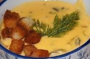 Суп из сливочного сыра с грибами