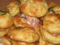 рецепт Картофельные профитроли с сырно-ветчинной начинкой