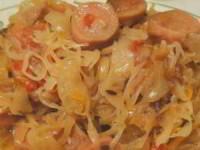 рецепт Тушёная капуста с сосисками