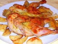 рецепт Цыпленок в горчичном соусе с картофельными дольками
