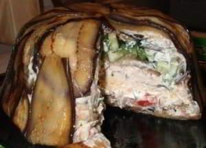 рецепт Закусочный слоеный торт из баклажан
