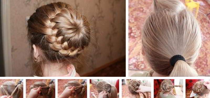 Красивая прическа из длинных волос. Плетение косы вокруг хвоста.
