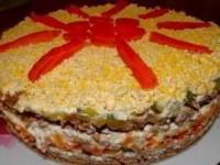 Вкуснейший слоёный печёночный салат для новогоднего стола