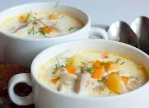 Густой куриный суп со сливками