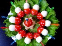 Закуска праздничная из перепелиных яиц и помидоров