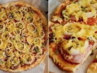 Пицца с колбасой и луком на тонком тесте