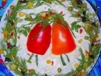 Салат с креветками и кальмарами на новый год